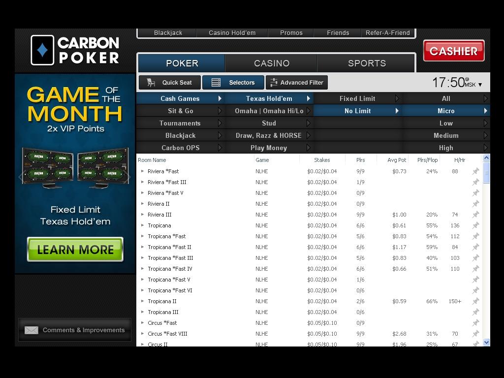 Carbon poker stats / Geant casino fenouillet