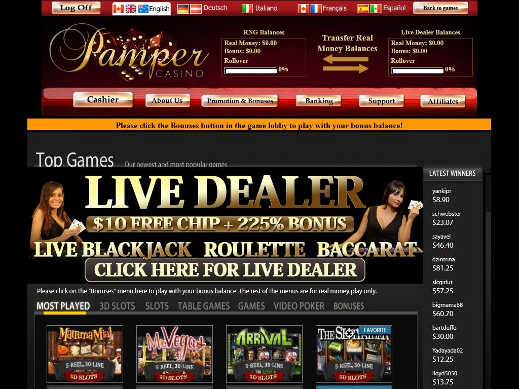 pamper casino no deposit coupons